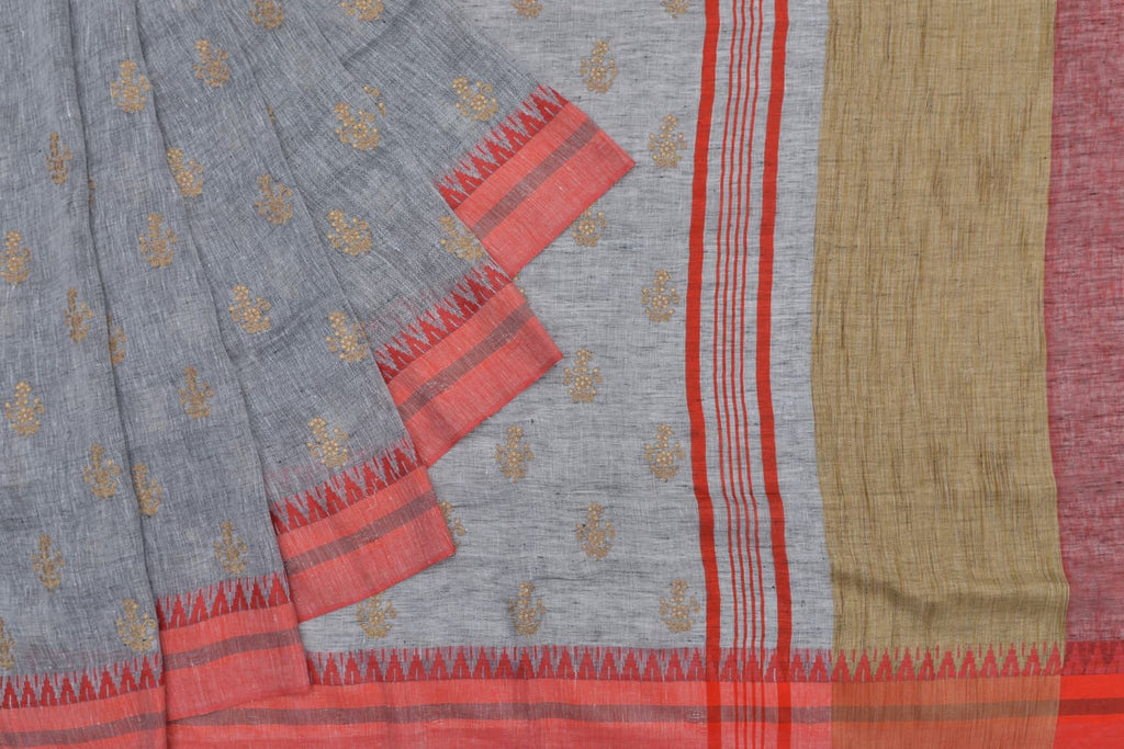 linen beige and grey Saree with golden thread flower embroidery Motif
