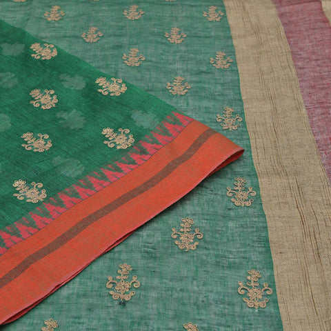 linen emerald green Saree with golden thread flower embroidery Motif