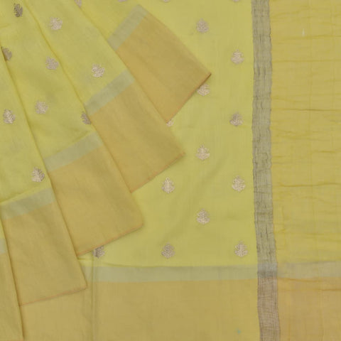 tussar silk light lemon yellow Saree with classic motifs embroidery Motif