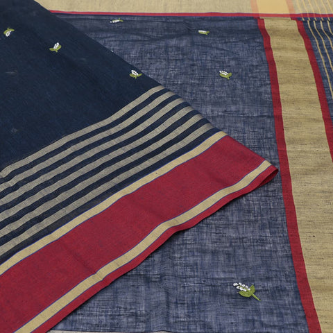 linen dark navy blue Saree with white threads french knots and green embroidery Motif