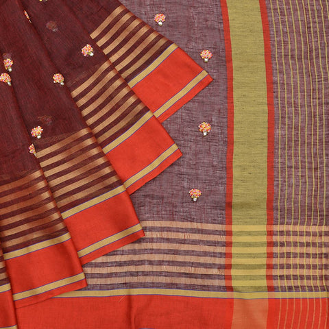 linen dark maroon Saree with multicolour french knots bouquet Motif
