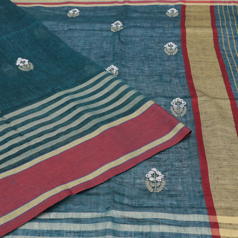 linen bottle green Saree with french knots embroidery Motif