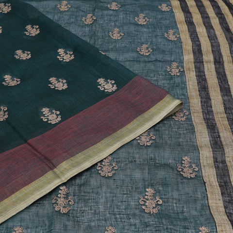 linen bottle green Saree with floral Motif