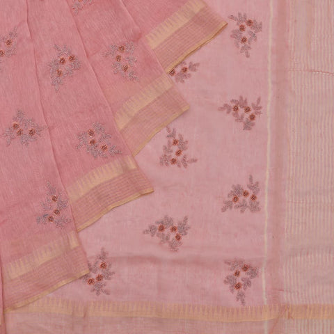 linen pastel peach Saree with heavy self colour beads and sequins embroidery Motif