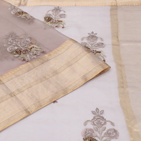 organza silk pastel grey Saree with heavy self rose colour horse with embroidery design Motif