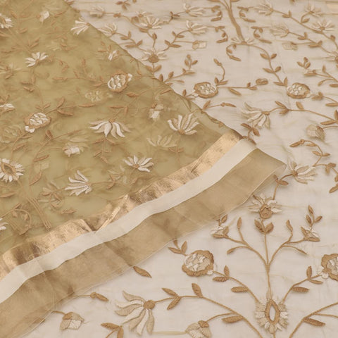 organza silk dark greyish yellow Saree with all over flower motifs