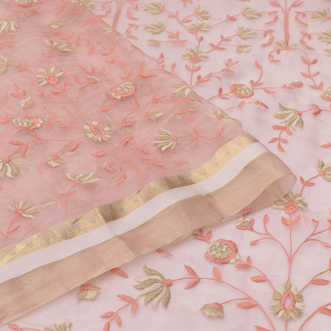 organza silk light peach Saree with all over flower motifs