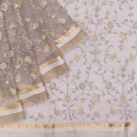 organza silk grey Saree with all over flower motifs