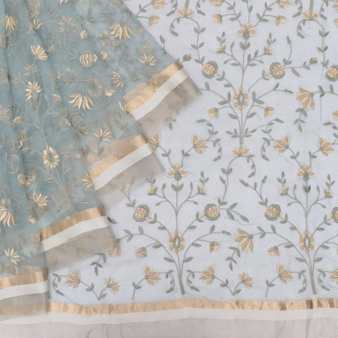 organza silk light blue Saree with all over flower motifs