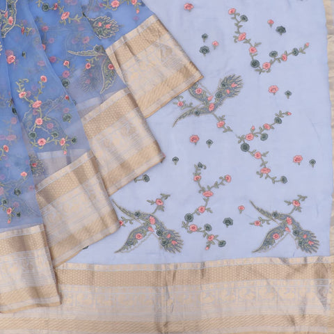 organza silk dark blue Saree with bird motifs and floral flower design