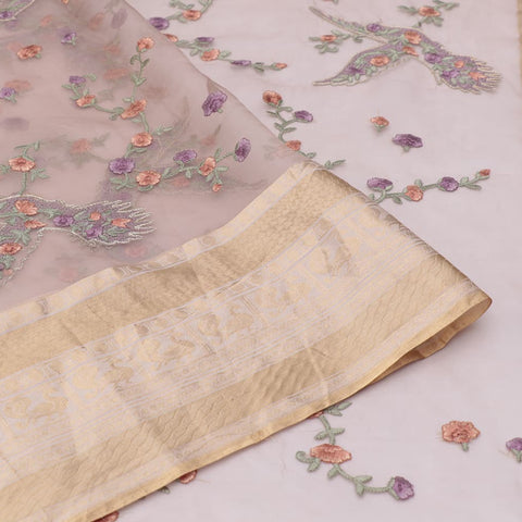 organza silk light bheja Saree with bird motifs and floral flower design