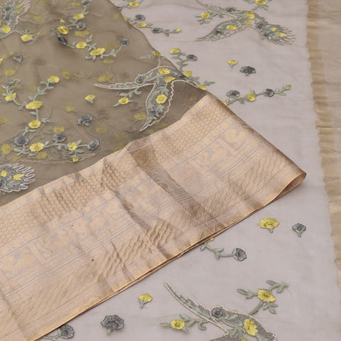 organza silk dark grey Saree with bird motifs and floral flower design