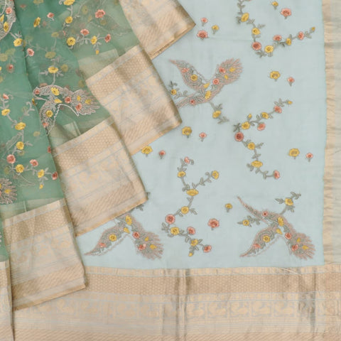 organza silk light green Saree with bird motifs and floral flower design
