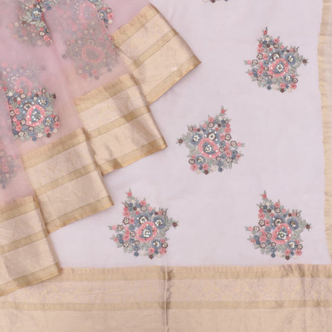 organza silk light pink Saree with big butta pink flower motifs