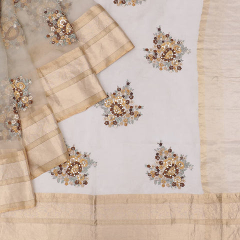 organza silk light grey Saree with big butta chocolate flower motifs