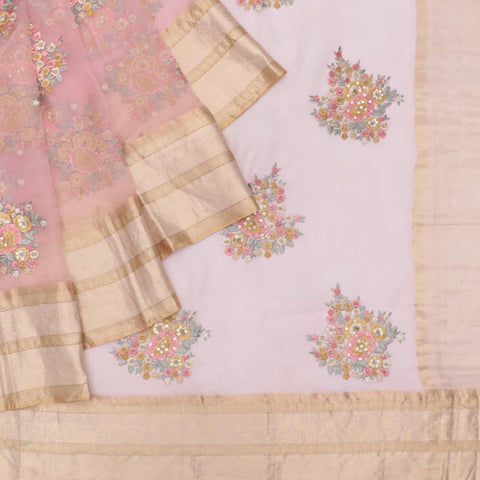 organza silk pink Saree with big butta pink flower motifs