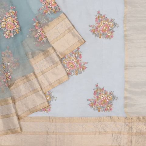 organza silk sky blue Saree with big butta lemon flower motifs