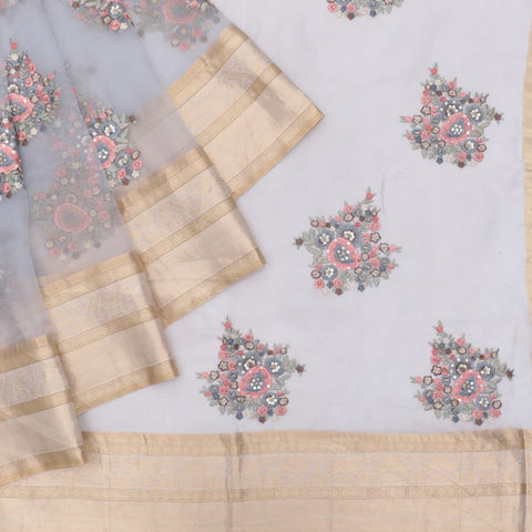 organza silk dark blueish Saree with big butta pink flower motifs