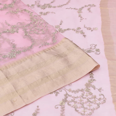 organza silk light pink Saree with all over gold zari motifs
