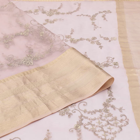 organza silk light peach Saree with all over gold zari motifs