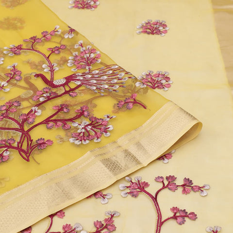 organza silk lemon yellow Saree with all over flower motifs and peacock motifs
