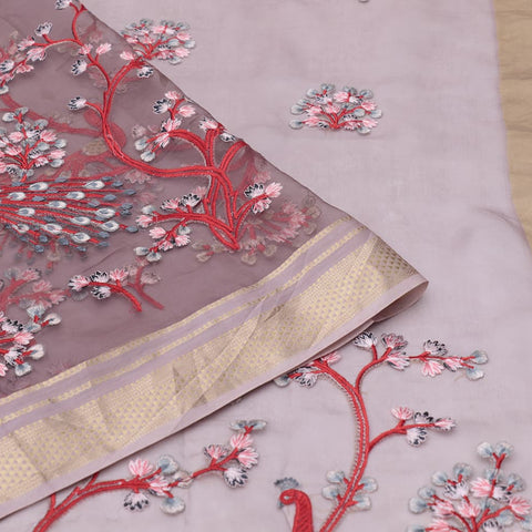 organza silk dark grey Saree with all over flower and peacock motifs
