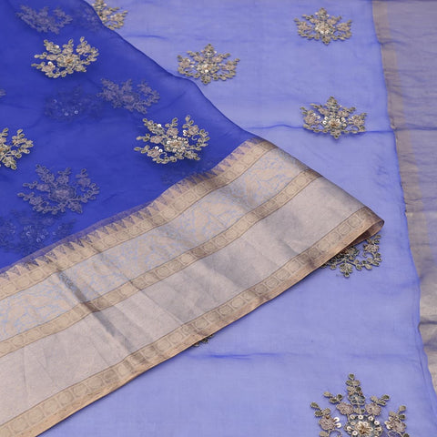 organza silk royal blue Saree with small butta all over motifs