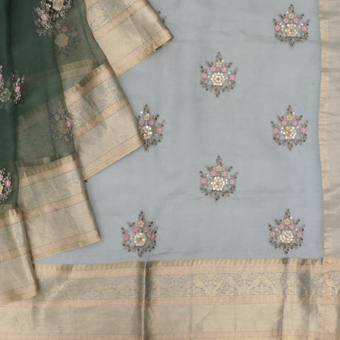 organza silk mehndi green Saree with small butta all over motifs