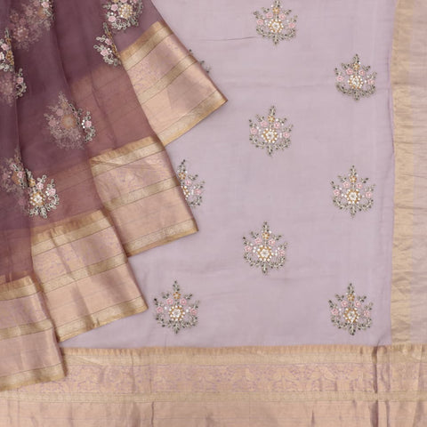 organza silk light maroon Saree with small butta all over motifs