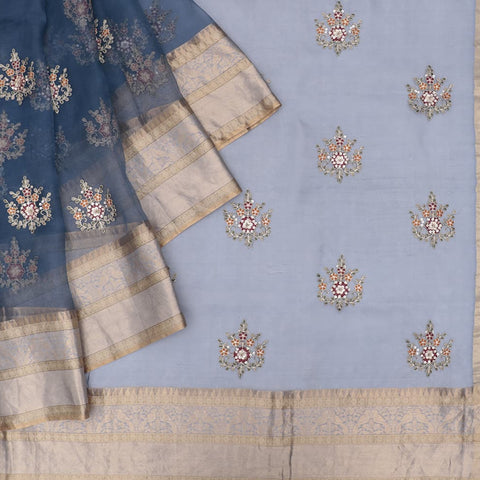 organza silk light blue Saree with small butta all over motifs
