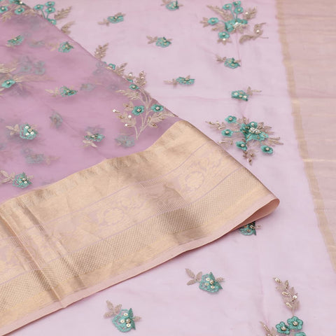 organza silk brinjal Saree with all over floral motifs