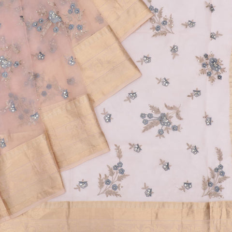 organza silk light peach Saree with all over floral motifs