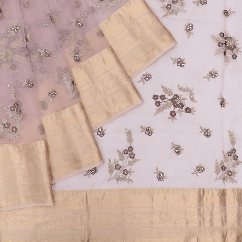organza silk light brinjal Saree with all over floral motifs