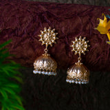 Floral Jhumka With Pearl Beads