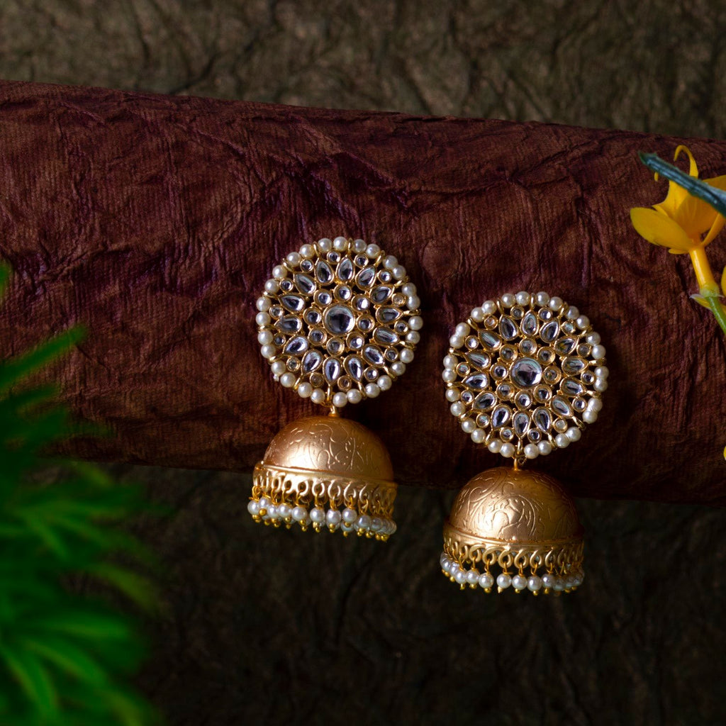 Floral Motif Pearl Jhumka With Stone