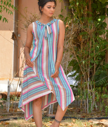 Handwoven Multicolor Khadi Cotton Dress