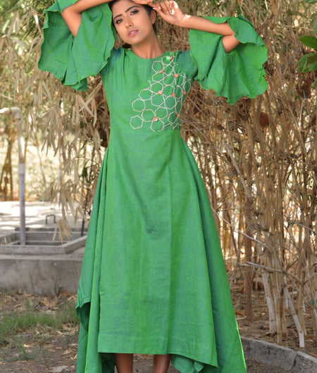 Handwoven Green Khadi Cotton Dress