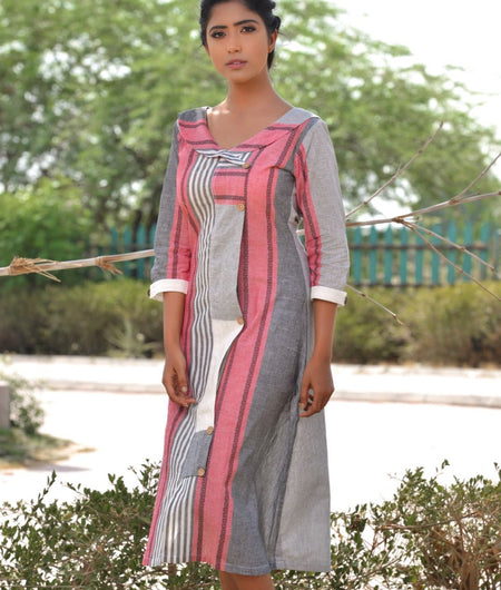 Handwoven Grey Khadi Cotton Dress