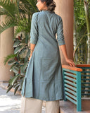 Handwoven Greyish Green Khadi Cotton Kurta Palazzo Set