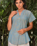 Handwoven Green and Blue Khadi Cotton Top