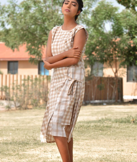 Handwoven Beige Khadi Cotton Dress