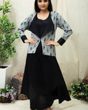 Handwoven Black Ikat Jacket kurta