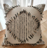 Hand Work Black and Natural Cotton Cushion Cover (45.72cm x 45.72cm)