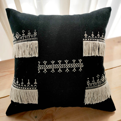 Hand Work Black and Natural Cotton Cushion Cover (18in X 18in)