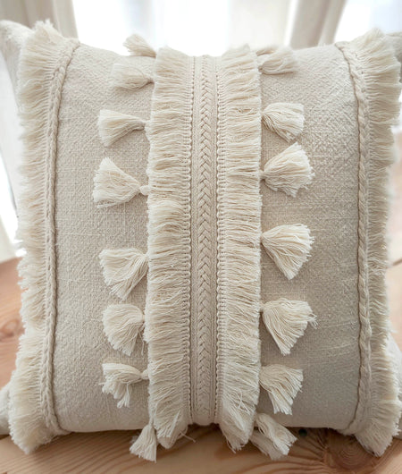 Hand Work Natural Cotton Cushion Cover (45.72cm x 45.72cm)