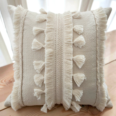 Hand Work Natural Cotton Cushion Cover (18in X 18in)