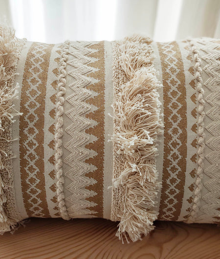 Hand Work Natural Cotton Cushion Cover (30.48cm x 50.8cm)
