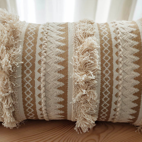 Hand Work Natural Cotton Cushion Cover (12in X 20in)