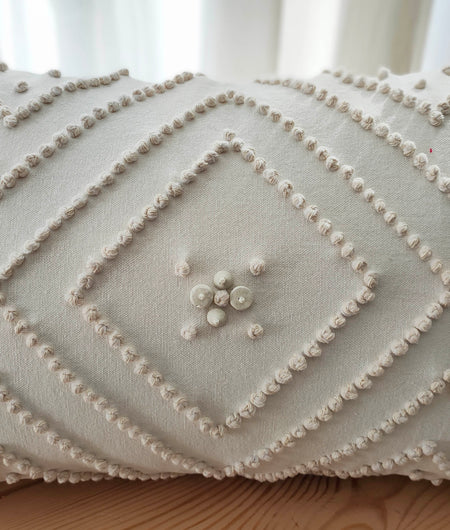 Hand Work Off White Cotton Cushion Cover (30.48cm x 45.72cm)