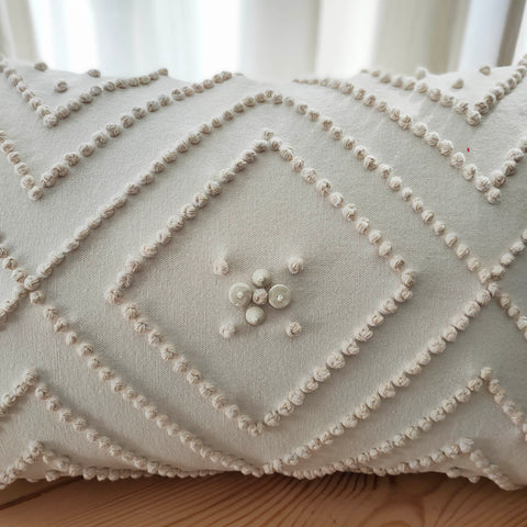 Hand Work Off White Cotton Cushion Cover (12in X 18in)